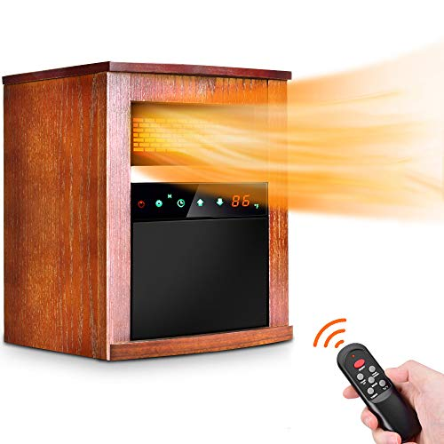 Electric Space Heater -1500W Infrared Heater with 3 Heat Settings, Remote Control&Timer, Room Heater with Overheat&Tip-Over Shut Off Protection, for Indoor Use, Quiet Operation, Wood Cabinet, L, Brown