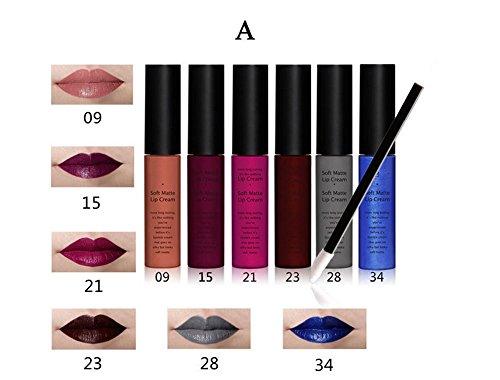 7 Mineral Lipstick - Tmalltide Makeup Waterproof Lip Gloss liquid lipstick set of 6 + 12 Pcs Lip Brush Matte Lip stick Organizer Makeup Kits