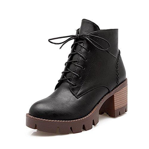AgooLar Women's Round Closed Toe Kitten Heels Soft Material Low Top Boots Black 2g2jTxX