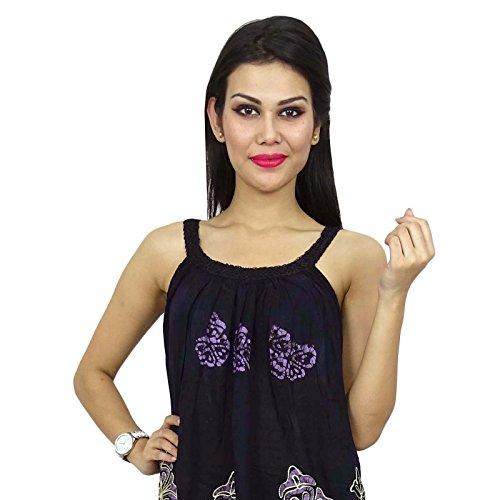 Desgaste de rayón Top bordado de impresión sin mangas del tirante de espagueti de la blusa de la playa Negro y púrpura