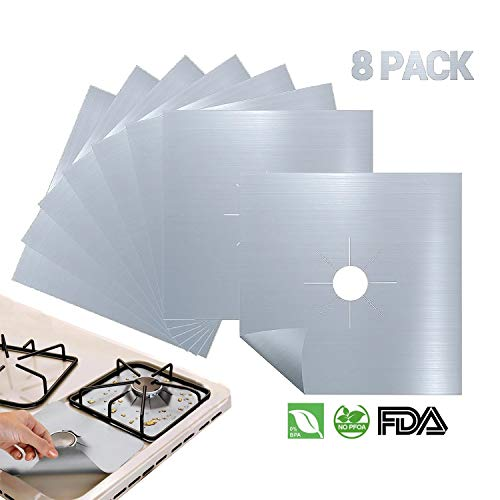 Antallcky 8-Pack Silver Stove Burner Covers Gas Range Protectors Gas Cooktop Liner Cover Clean Mat Pad,Reusable, Non-Stick, Dishwasher Safe, Easy to Clean 8 Pack - Size 10.6 x 10.6 inch - Silver Stoves