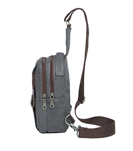 Genda 2Archer Protable y Durable que Sube el Bolso de la Lona del Bolso de la Honda del Bolso del Pecho de la Lona (15cm * 9cm * 25cm) (Negro) Gris
