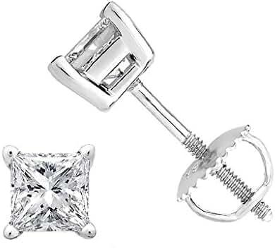 Princess cut Diamond Stud (IGI Certified (0.70ct & up) ScrewBack 14K from (0.04ct - 2.00ct, Clarity-I2)