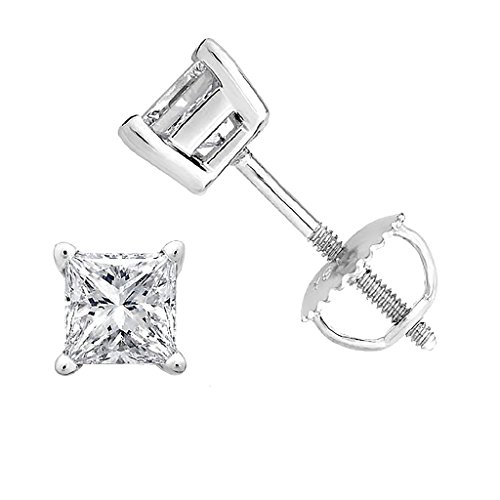 PARIKHS Princess cut Diamond stud Promo Quality Screw Back 14K White Gold (0.15ct, Clarity-I3) - 0.075 Ct Diamond