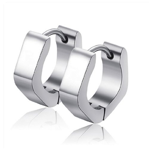 U2U New a Pair of Stainless Steel Sliver Scrub Huggie Hoop Earrings