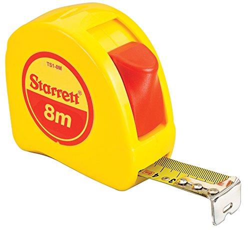 Starrett KTS1-8M-N ABS Plastic Case Yellow Measuring Pocket Tape, Metric Graduation Style, 8m Length, 25.4mm Width, 1.58mm Graduation Interval