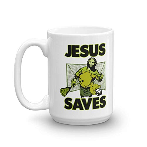 Jesus The Lacrosse Goalie Saves Coffee & Tea Gift Mug Cup For A Christian Lacrosse Coach Or Player Dad (15oz)]()