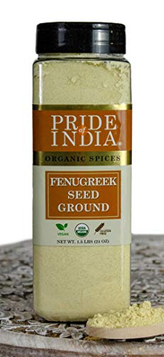 Pride Of India - Organic Fenugreek Seed Ground - 24 oz (680 gm) Large Dual Sifting Jar - Authentic Indian Vegan Spice - Gluten & GMO Free - Best for Curries, Salads & Pickles