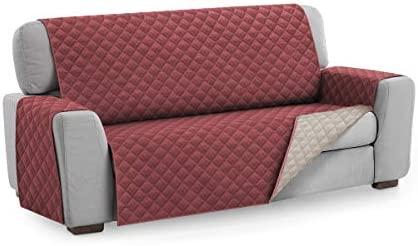 Textilhome - Funda Cubre Sofá Malu, 4 Plazas, Protector para Sofás Acolchado Reversible. Color Rojo C/4