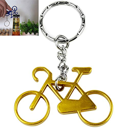Amorly Bottle Openers-Wine Beer Opener Tool with Stainless Steel Key Rings Bicycle Keychain (yellow)