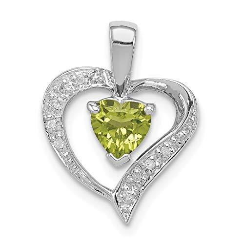 925 Sterling Silver Heart Green Peridot Diamond Pendant Charm Necklace Gemstone Love Fine Jewelry For Women Gift Set