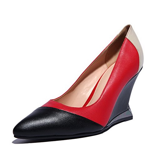 Amoonyfashion Donna Pull-on A Punta Chiusa Tacco Alto Misto Materiale Assortito Colore Scarpe-scarpe Rosse