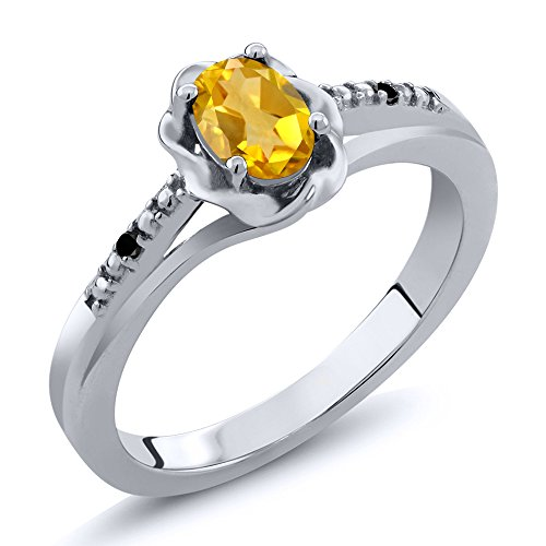 Gem Stone King 0.41 Ct Oval Yellow Citrine Black Diamond 925 Sterling Silver Ring (Size 7) ()
