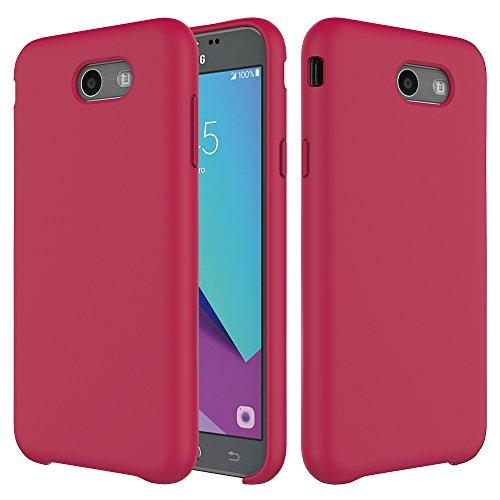 for Samsung Galaxy J7 V / J7 2017 / J7 Prime / J7 Perx / J7 Sky Pro/Galaxy Halo Case, MC Fashion Liquid Silicone Gel Rubber Shockproof Case with Soft Microfiber Cloth Lining Cushion (Red)