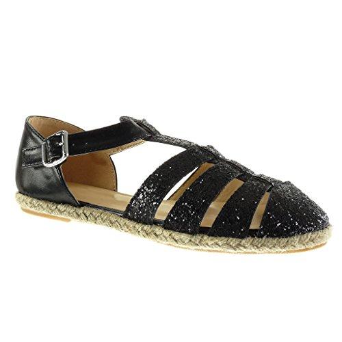 Mujer Sandalias Brillante Tanga 5 Zapatillas 1 Abierto Cuerda Alpargatas Ancho Moda Talón Angkorly Negro Cm Gladiator Tacón q0SAxY0w