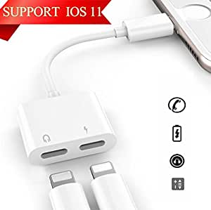 Lightning Adapter Headphone Jack for iPhone 7/7 Plus iPhone 8/8 Plus iPhone X/10 .AUX Female Audio Adaptor&Splitter Cable (Audio+Charge+Music Control+Phone Call) Support iOS10.3/11.3orLater
