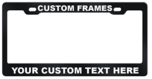 GoPlates Customized License Plate Frame Laser Engraved - Black