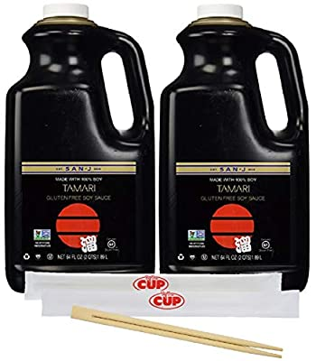 San J Tamari Gluten Free Soy Sauce Black Label, 64 Ounce Bottle (Pack of 2) - with 2 Packs of Chop Stix