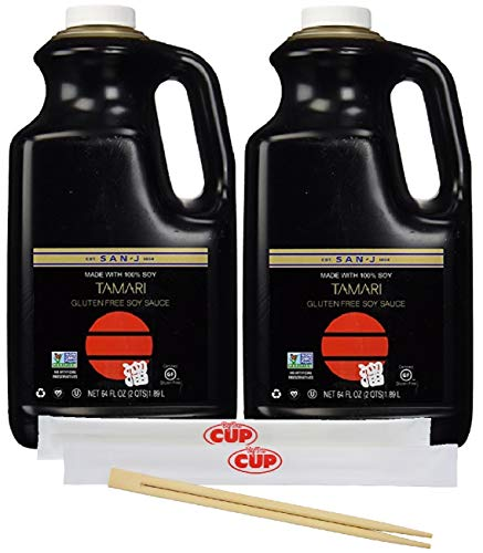 San-J Tamari Gluten-Free Black Label Soy Sauce, 64 Ounce Bottle (Pack of 2) - with 2 Packs of Chopsticks