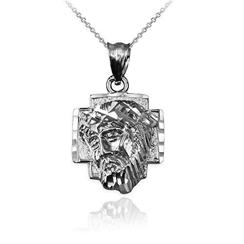 LA BLINGZ Sterling Silver Jesus Face Cross DC Necklace (16)