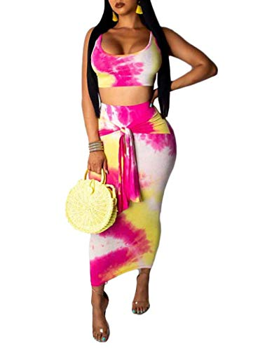 Remelon Womens Sexy Sleeveless Tie Dye Print Tank Crop Top Bodycon Tie Skirts Set 2 Piece Midi Dress Outfits Rosy XL