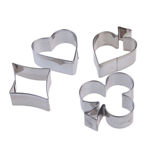 (Poker Casino Themed (hearts, spades, diamonds, clubs clover) Cookie Cutters - Cutter Set from Bakell)