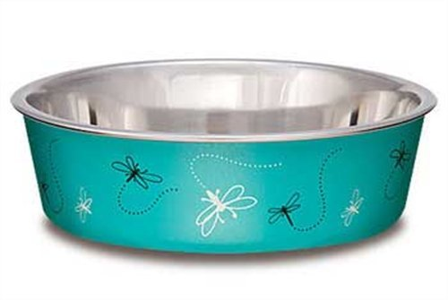 Loving Pets Dragonfly Bella Bowl for Dogs, Medium, 1-Quart, Turquoise, My Pet Supplies