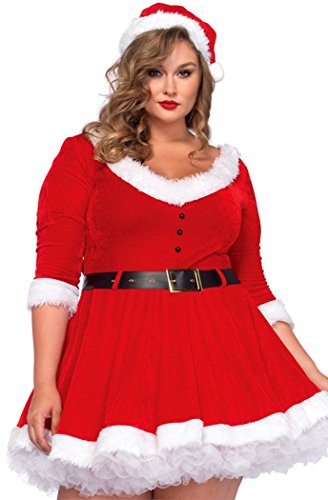 BYY Womens Maribou Trim Sweetheart Neck Plus Miss Santa Dress Costume