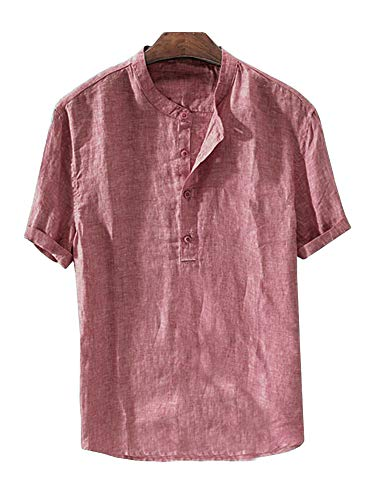 (Mens Linen Button Down Shirts Beach Short Sleeve Cotton Lightweight Tops Summer Tees Plain Mandarin Collar Blouses)