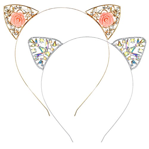 Cat Ears Headband for Women Girls 2 PCS Metallic Flower Rhinestone Hair Hoop Kitten Ears Hairband Costume Party Cosplay]()