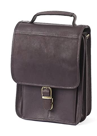 Claire Chase Mini-Computer Man Bag, Cafe, One Size - Claire Chase Leather Messenger