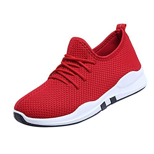 Traspirante Lavoro Scarpa Stringate Fitness Maglia Sneakers Casual Piatto  Ginnastica Atletica Scarpe Comodo Donne Camminata Tenthree Corsa Rosso Moda  Da ... c283a0b39c5
