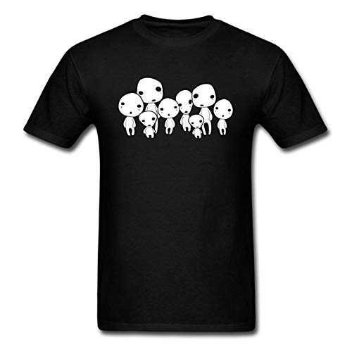 Ejqshirts Kodama Spirit of The Forest Men's Men's Short Sleeve Heavyweight Crew Neck Cotton-Black-XL