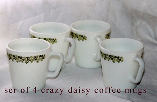 Set of 4 - Vintage Corelle Spring Blossom/ Crazy Daisy Glass D-Handle Mugs