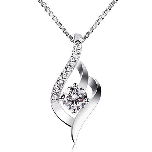 B.Catcher Kette Damen, 925 Sterling Silber Zirkonia Twist Halskette Anhänger mit Etui,Italien Kette 45CM