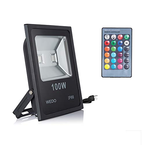 WEDO 100W RGB LED Flood Light IP66 Waterproof 16 Colors Change 4 Modes with IR Remote Control Wall Wash Light Security Light with US Plug for Outdoor Garden Landscape Yard Car Park