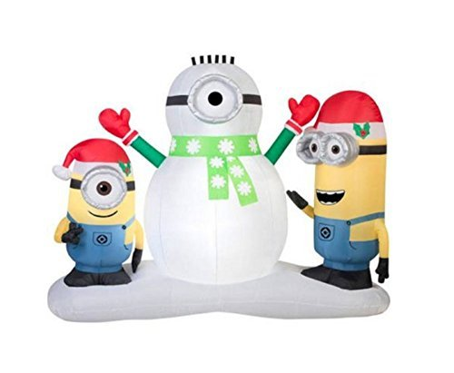 CHRISTMAS INFLATABLE MINION STUART & KEVIN BUILDING SNOWMAN BY GEMMY