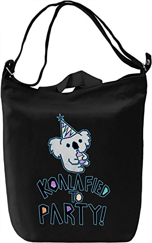 Koalafied To Party Borsa Giornaliera Canvas Canvas Day Bag| 100% Premium Cotton Canvas| DTG Printing|