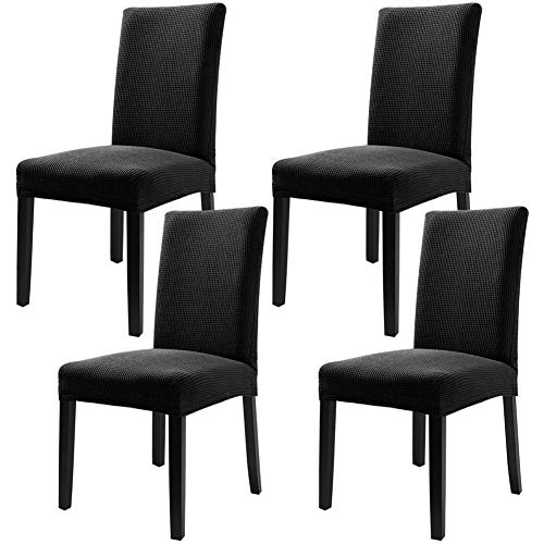 YISUN Modern Stretch Dining Chair Covers Removable Washable Thicken Spandex Polar Fleece Slipcovers for High Chairs 4/6 PCs Chair Protective Covers (Black/Monochrome Polar Fleece, 4 PCS)