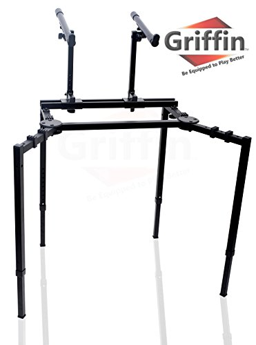 Double Piano Keyboard and Laptop Stand by Griffin | 2 Tier/Dual Portable Studio Mixer Rack for Turntables, DJ Coffins, Speakers, Audio Gear and Music Equipment | Deluxe & Versatile Steel Construction from Griffin