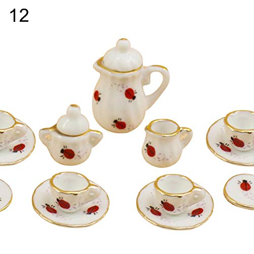 (sJIPIIIk552 15Pcs/Set Dollhouse Miniature Ceramic Floral Tea Pot Cup Saucers Tableware Toy Ladybug#)
