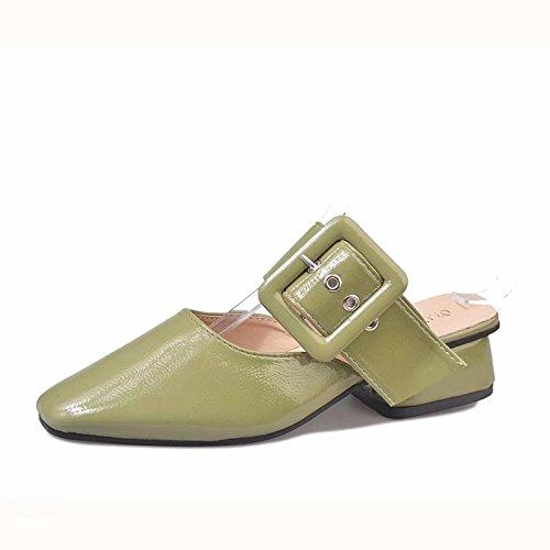 WHLShoes Sandalias y chanclas para mujer Zapatillas De Fondo Plano Superficial Señaló Moda Primavera Y Otoño Viento Británica Wild Wild Ocio Hueco green