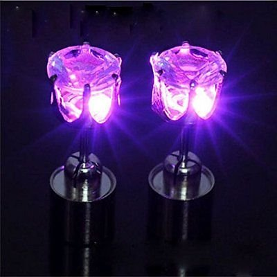 Purple  Led Glowing Light Up Earrings Flash Bling Ear Studs Dance Club Party Acc Gift