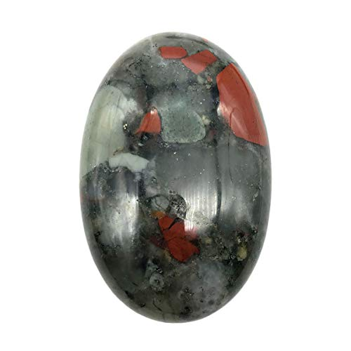 (favoramulet Oval Polished Palm Stone, Healing Crystal Pebble Pocket Worry Stones, Africa Bloodstone)
