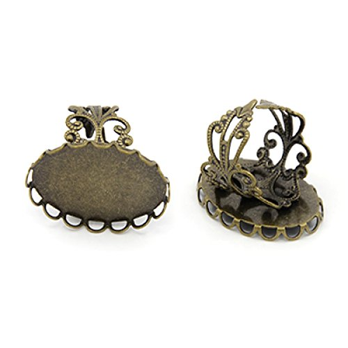 Pandahall 10pcs 16mm Inner Diameter Antique Bronze Adjustable Filigree Finger Ring Blank with 25x18mm Oval Base Cabochon Tray