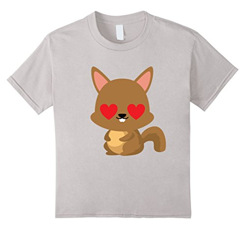 [Kids Squirrel Emoji Heart Love Eye Shirt T-Shirt Tree Rodent Tee 10 Silver] (Chipmunk Squirrel Costume Party)