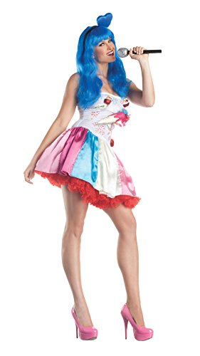 Party King Candy Girl Women's Costume Dress, Multi, X-Large - Rock Diva Child Wig