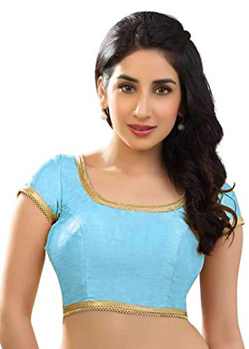 Choli Belly Dance - themilestocks Polyester Raw Silk Indian Wedding Blouse Top Choli Saree Bollywood Belly Dance (M, Sky Blue)