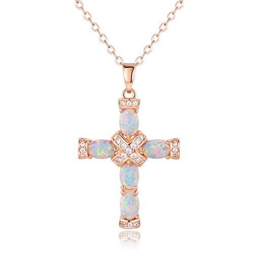 Barzel Rose Gold & White Gold Plated Fire Created Opal Cross Pendant (Rose Gold)