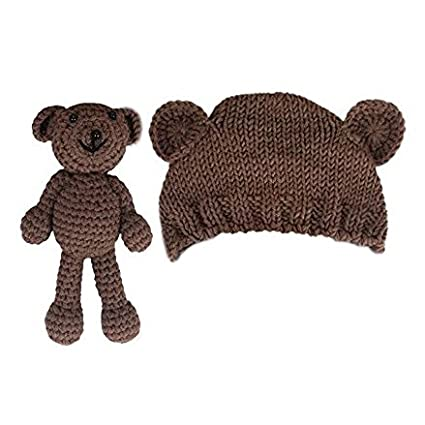 OFKPO Newborn Baby Girl Boy Photography Prop Cute Knitted Bear Hat With  Crochet Bear Toy (Brown)  Amazon.ca  Cell Phones   Accessories 8ae31c870a62
